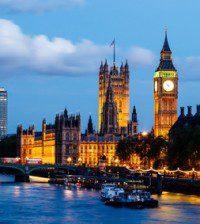 Big Ben and Westminster Bridge in the Evening, London, United Ki